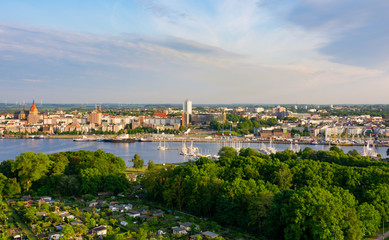 panorama of the city of rostock - aerial view
