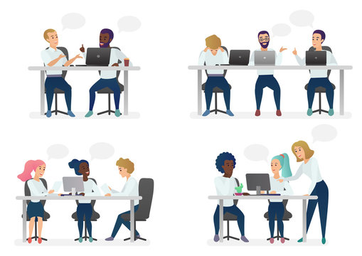 Men and women people sitting, working at desk and standing in modern office, working at computers and talking with colleagues. Coworking center teamwork cartoon vector illustration.