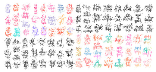 set of 100 hand lettering inscription text to valentine's day design, women day