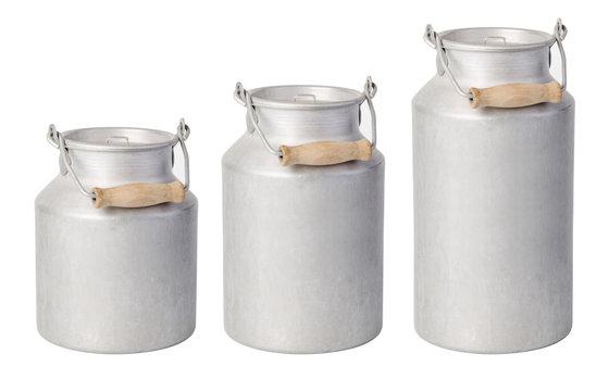 aluminium milk can on white