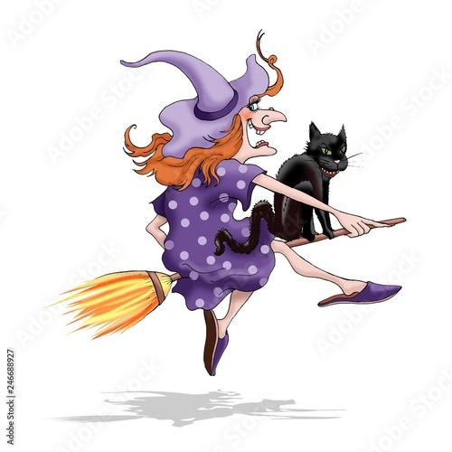 Hexe Fliegt Auf Besen Mit Schwarzer Katze Lila Hut Und Kleid Und