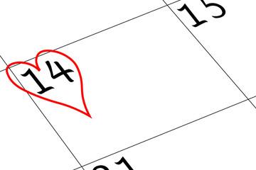 Valentin`s Tag Kalendertag mit Herz
