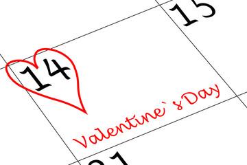 Valentin`s Tag Kalendertag mit Herz und Schriftzug