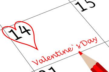 Valentin`s Tag Kalendertag mit Herz Schriftzug und Stift