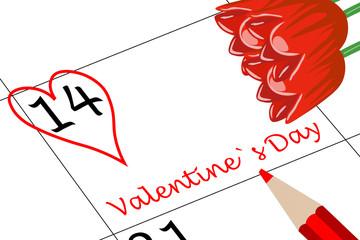 Valentin`s Tag Kalendertag mit Herz Blumen und Stift
