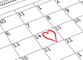 Valentin`s Tag Kalenderseite mit Herz