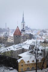 Wall Mural - Estonia, Tallinn - a snow-covered city