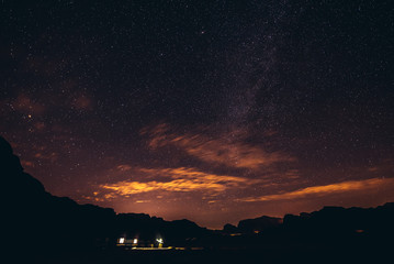 A sky full of stars above tourist camp in Wadi Rum valley in Jordan