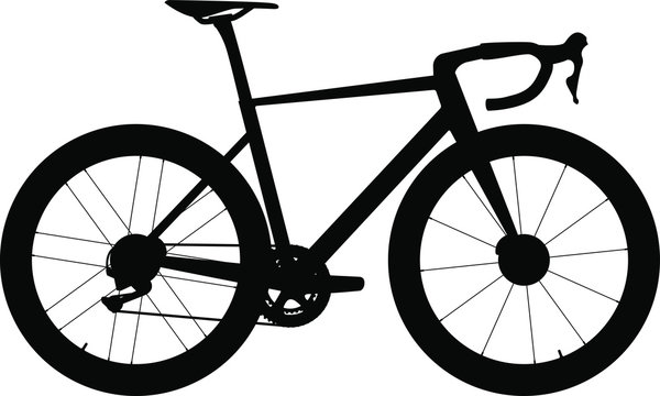 Road bike with disc brakes - silhouette. Vector illustration.
