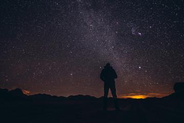A sky full of stars above Wadi Rum valley in Jordan