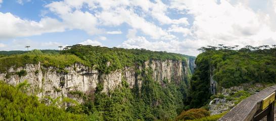 Beautiful landscape of Itaimbezinho Canyon and green rainforest,
