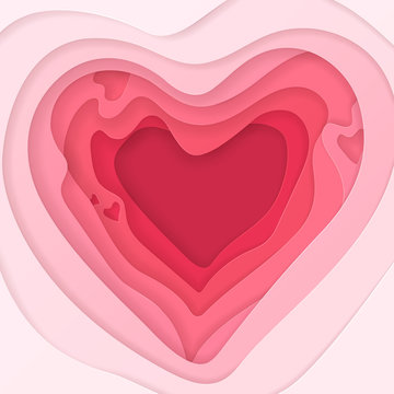 Vector abstract pink background in 3D paper cut style for design of wedding invitations or greeting cards for Valentine's Day. Romantic template with realistic layered cut out paper heart.