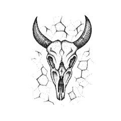 Dotwork Burnt Cow Skull