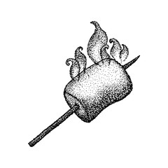Dotwork Marshmallow with Fire