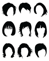 Silhouettes of hair styling on a white background