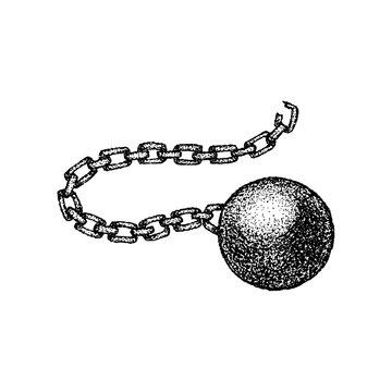 Dotwork Wrecking Ball Chain