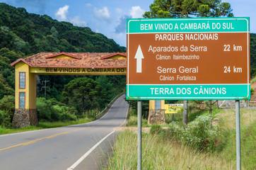 Entrance porch of the tourist town of Cambara do Sul, city of ca