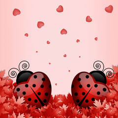illustration of two ladybugs in the shape of a heart