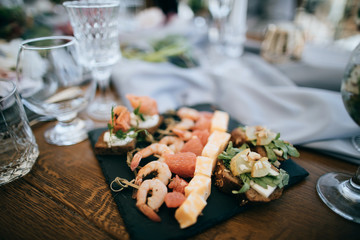 Food on the tables. Catering service
