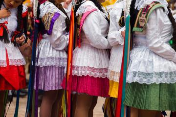 Girls wearing traditional Peruvian clothing