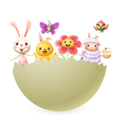 Easter characters bunny chicken flower lamb butterfly bird in big hatched egg