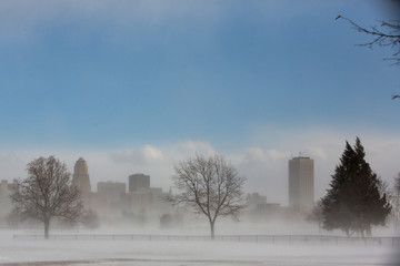 A view of the city skyline in drifting snow during the polar vortex in Buffalo