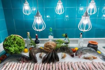 Fresh fish in a fish restaurant