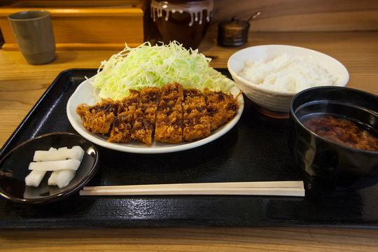 Tonkatsu teishoku, pork cutlet set meal, Tokyo, Japan