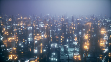 Futuristic city at night in the fog, the city of the future is covered with a grid of connections, the concept of information transfer 3d illustration