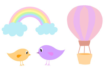 Set of Clip Art birds, hot air balloon and rainbow isolated on white, hand drawn illustration.