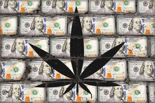 Painted cannabis leaf on wall of dollars. Hemp business art concept.