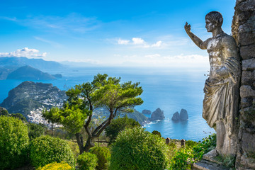 Beautiful view of Capri island from Mount Solaro - Capri, Italy