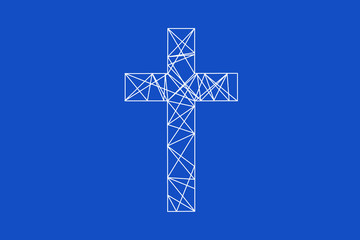 Christian cross illustration in blue and white