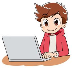 小学生 子ども 男の子 パソコン(アニメ・ゲーム風テイスト)