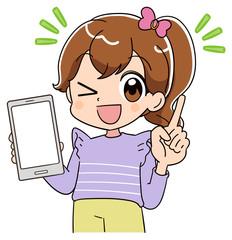 小学生 子ども 女の子 スマホ(アニメ・ゲーム風テイスト)