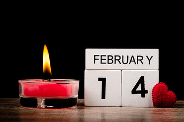 Red Candle Burning with 14th february.