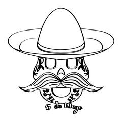 Sketch of a happy mexican skull. Cinco de mayo. Vector illustration design