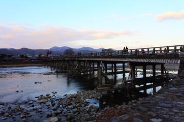 the beautiful river view with a bridge in Arashiyama, Kyoto, Japan