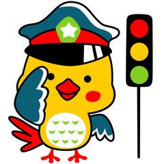 little birds cartoon is a traffic cop