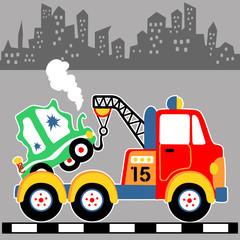 tow truck vector cartoon illustration