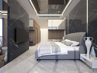 Master bedroom in Luxury Hotel ,3d rendering