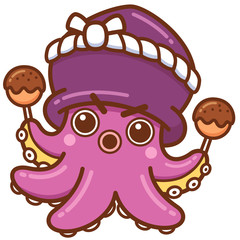 Vector illustration of Cartoon octopus chef