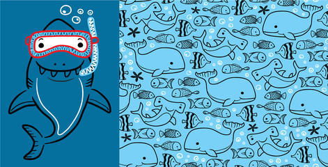 Seamless pattern vector of marine life cartoon with big shark