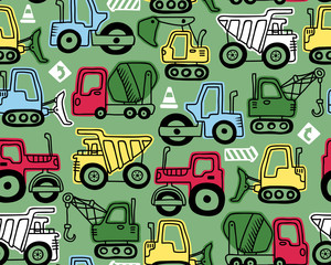 Seamless pattern vector of construction vehicles cartoon