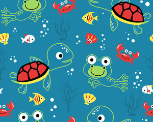 seamless pattern vector of marine animals cartoon