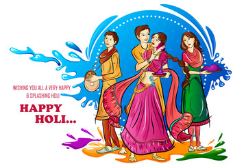 Indian people playing India Festival of Color Happy Holi background