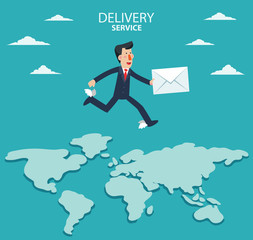 Young businessman running over the world map. Post letter, delivery service or e-mail vector concept