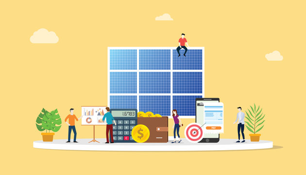 solar panel energy business electric saving financial alternative efficient for cheaper solutions with team people work together - vector