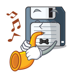 With trumpet floppy disk in the character funny
