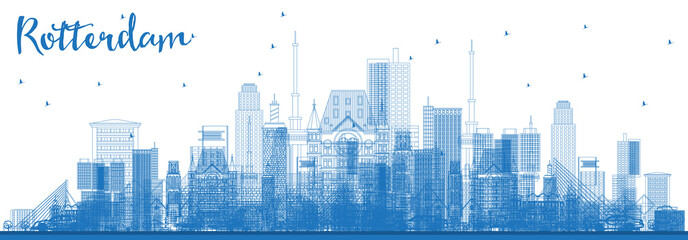 Wall Murals Rotterdam Outline Rotterdam Netherlands Skyline with Blue Buildings.